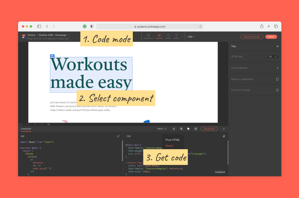 Image showing how to get code for design components with Anima