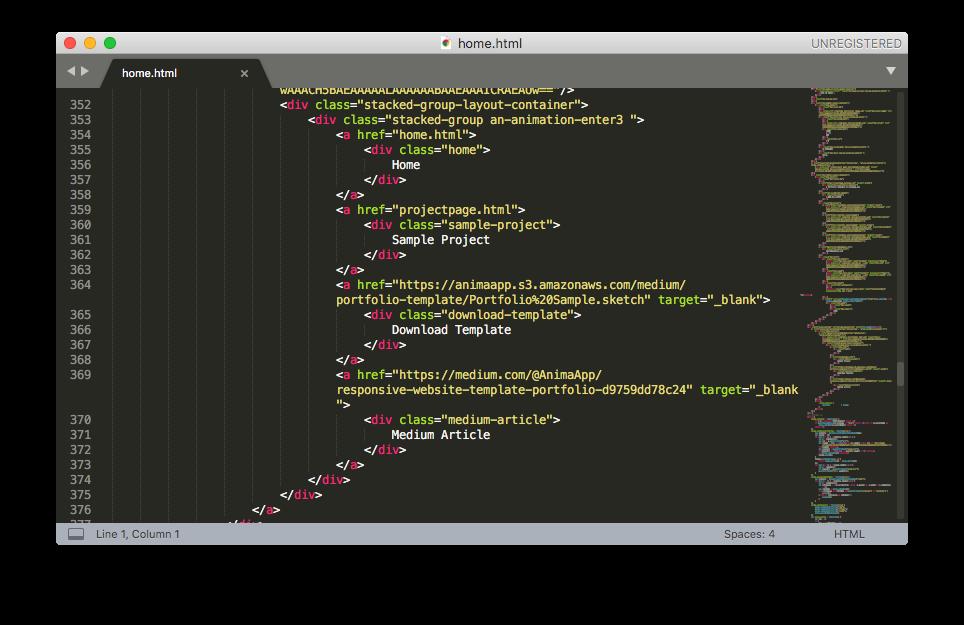 Design to html with Anima