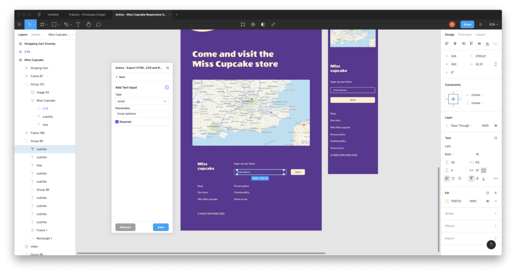 Figma design with a live form, by using Anima