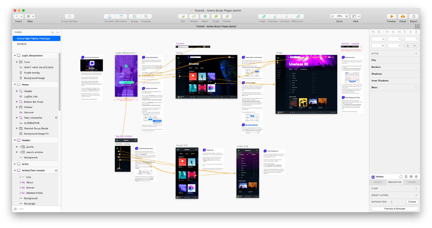 What you get: the Sketch file prototype and a detailed explination