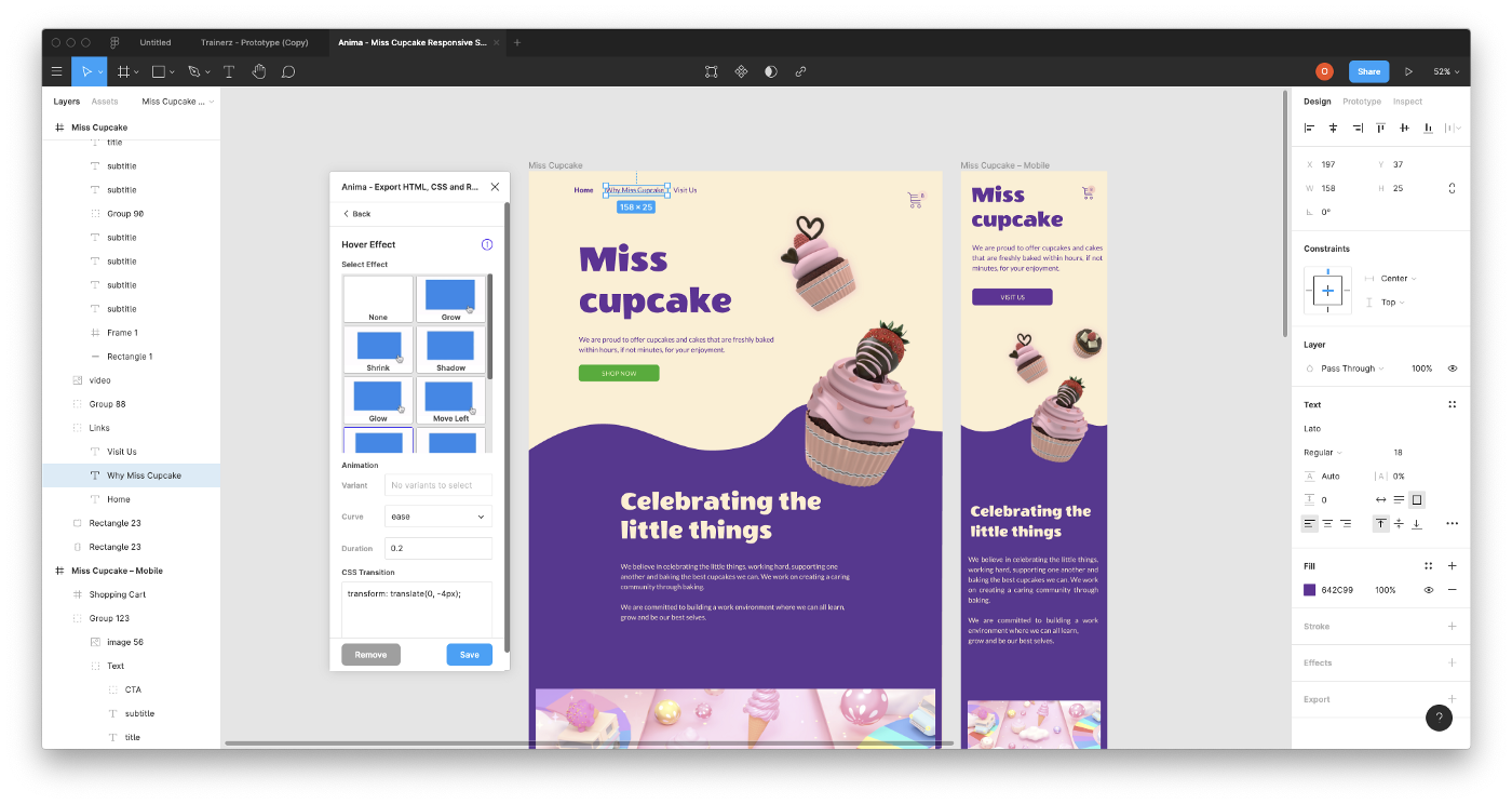 Figma design with Hover effect by using Anima