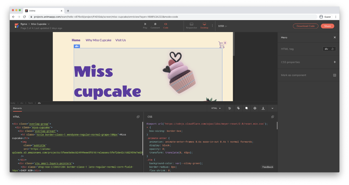 Get code from your designs with Anima