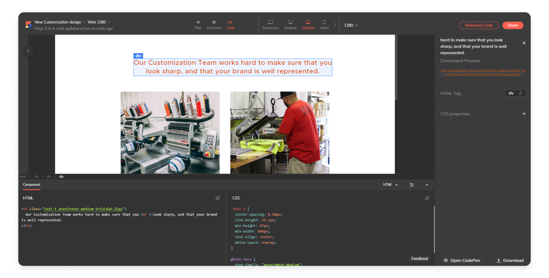 Getting HTML code for an Adobe XD prototype with Anima