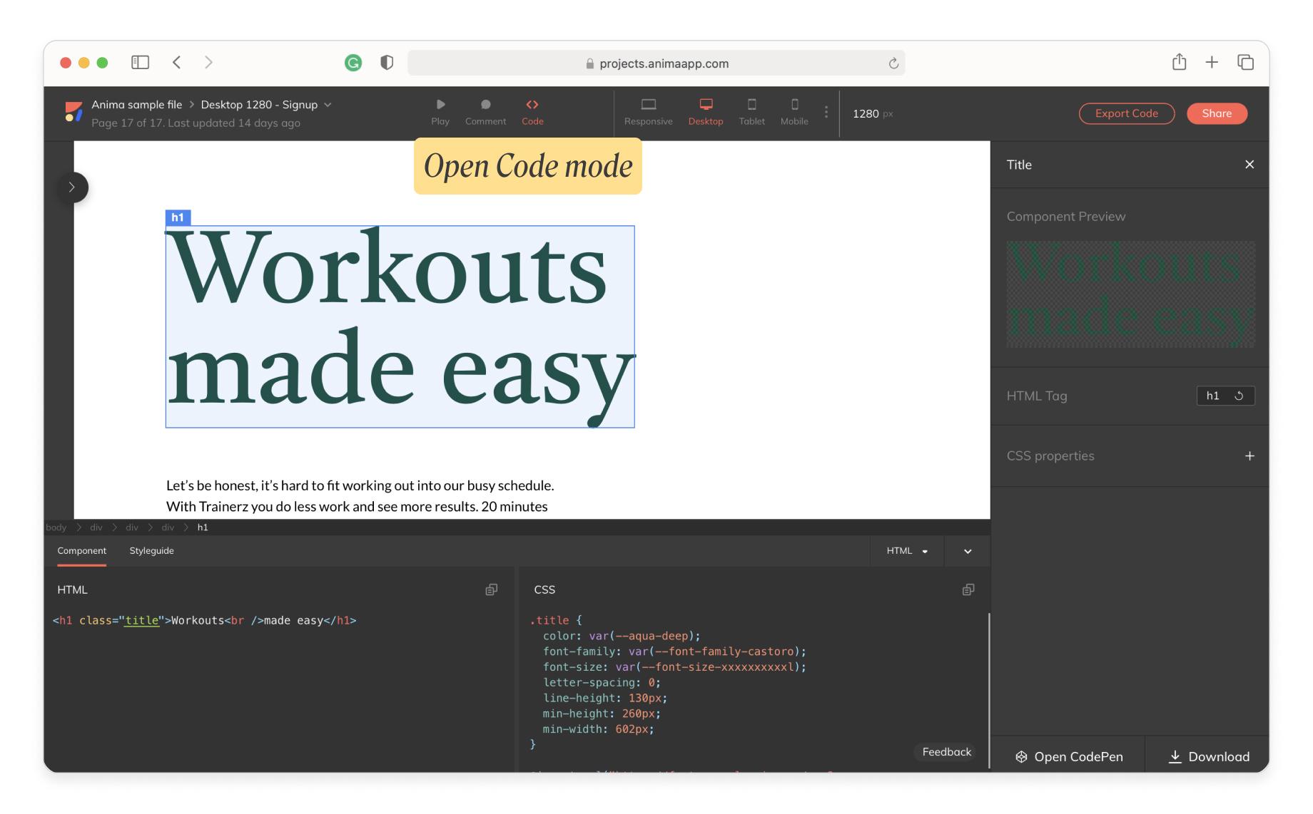 Open code mode in Anima