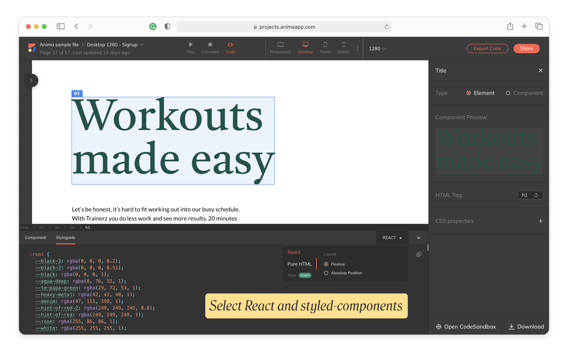 Get React & styled-components: Anima