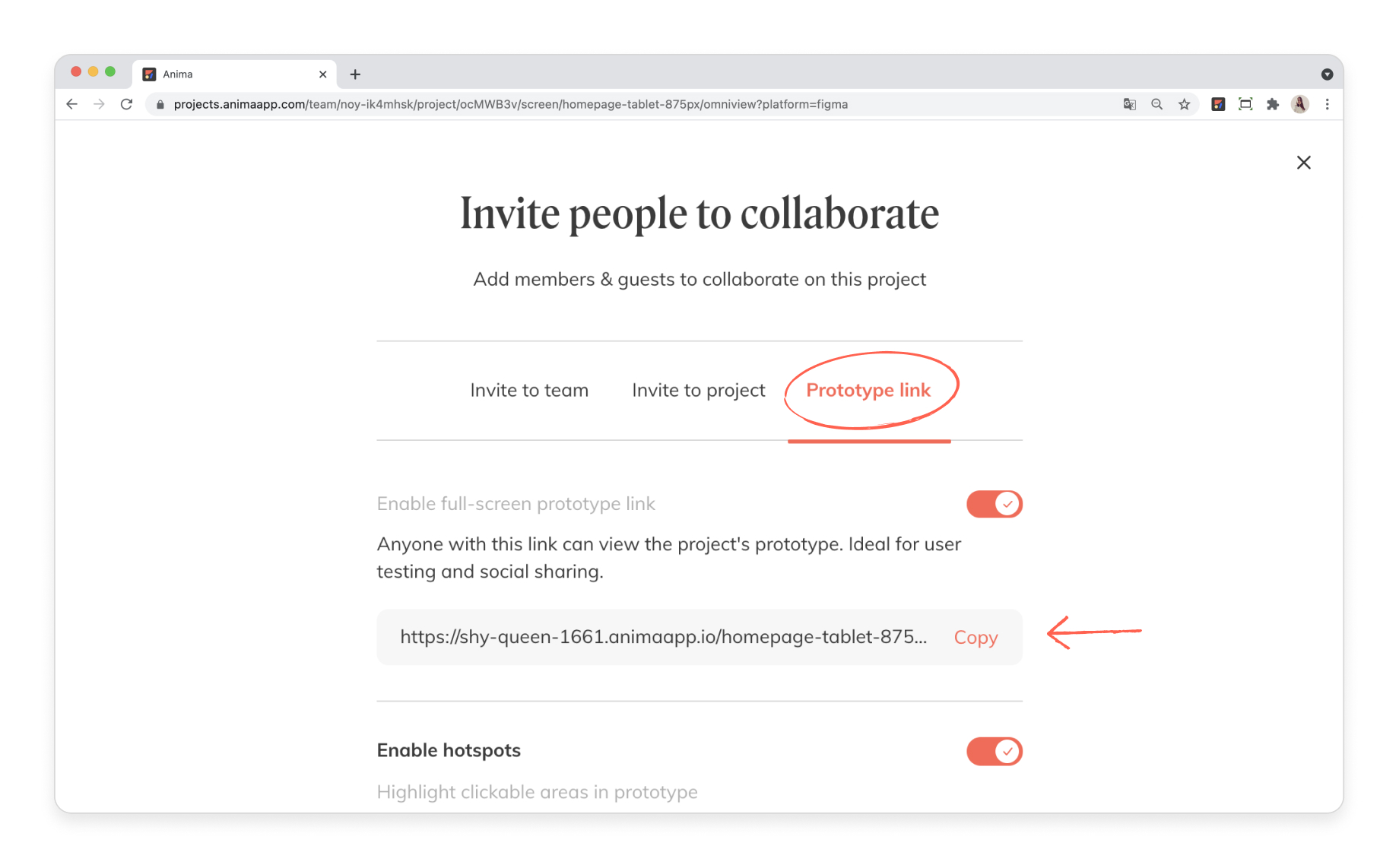 Share your prototype link